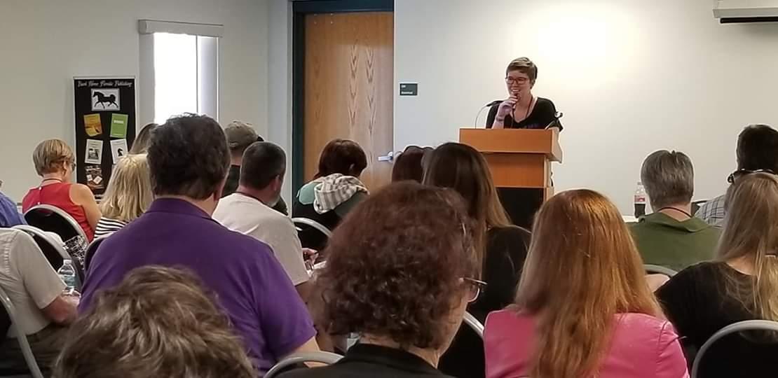 Sarah Nicolas speaking
